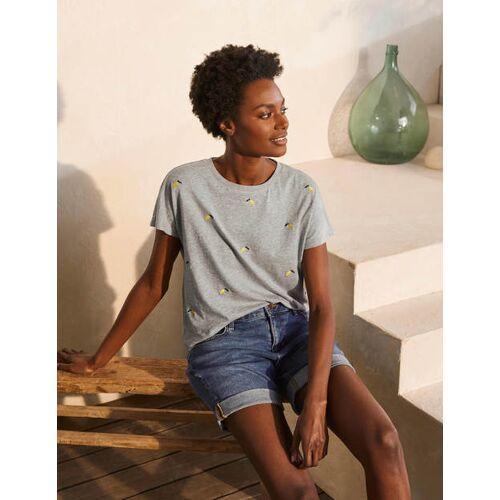 Boden Grau Meliert, Gestickte Zitronen Lena Jersey-T-Shirt mit Stickerei Damen Boden, 34, Grey