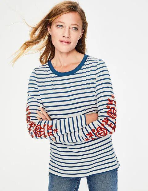 Boden Bestickte Ärmel Statement-Bretonshirt Damen Boden, 42, Multi