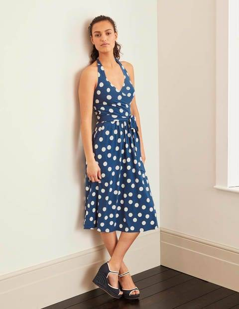 Boden Blaue Dekadenz, Pünktchen Tess Neckholder-Jerseykleid Damen Boden, 36 R, Blue