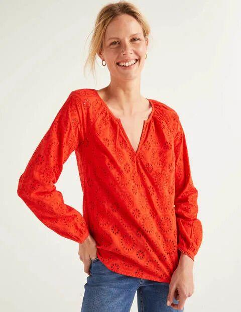 Boden Rot Priscilla Bluse mit Lochstickerei Damen Boden, 32, Orange