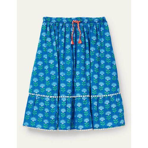 Johnnie b Marokkoblau, Holzschnittmuster Gemusterter Midirock Mädchen Boden, 164, Blue