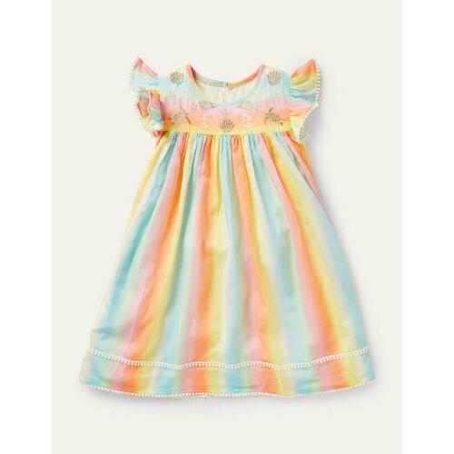 Mini Schattiert, Regenbogen Regenbogen-Kleid mit Stickerei Mädchen Boden, 104, Multi