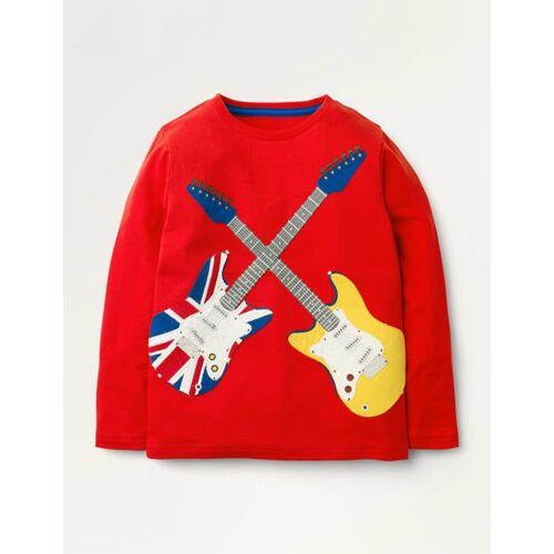 Mini Feuerrot, Gitarren T-Shirt mit Hobby-Applikation Jungen Boden, 98, Red