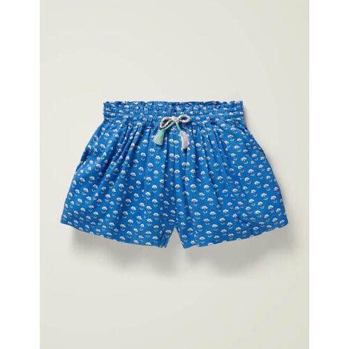 Mini Blau, Holzschnittmuster Bedruckte Culotte Mädchen Boden, 134, Blue