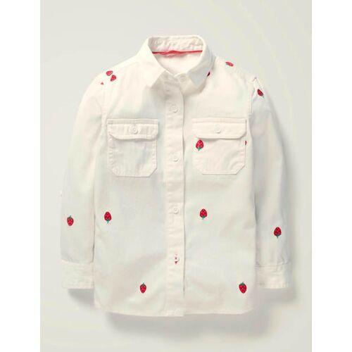 Johnnie b Weiß, Erdbeere Hemd mit Erdbeerstickerei Mädchen Boden, 128, White