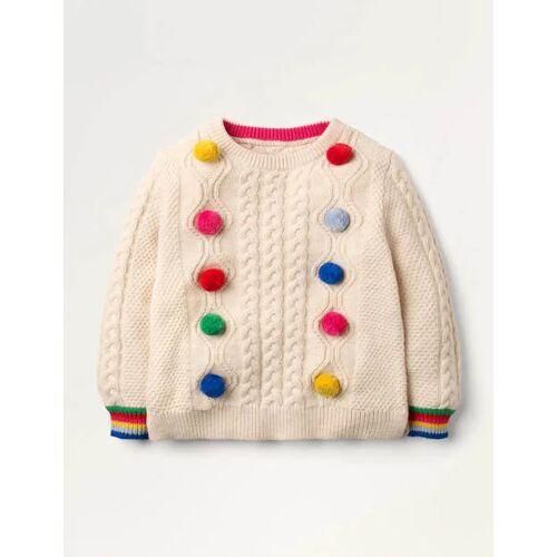 Mini Ecru/Regenbogen, Bommel Pullover mit Zopfmuster und Regenbogenbommeln Mädchen Boden, 98, Ivory