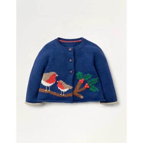 Baby Segelblau, Rotkehlchen Strick-Cardigan mit Rotkehlchen Baby Baby Boden, 86, Blue