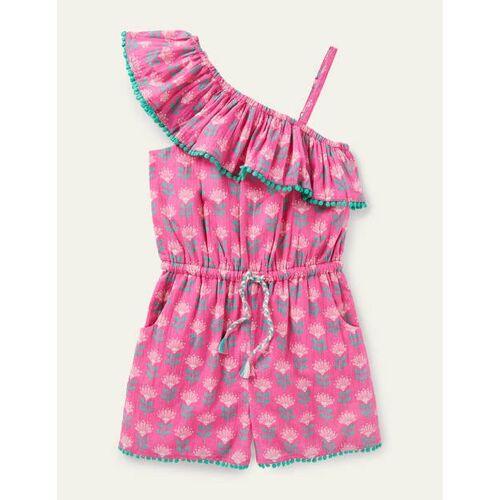 Johnnie b Rosarot, Holzschnittmuster Einseitig schulterfreier Einteiler mit Quasten Mädchen Boden, 152, Pink