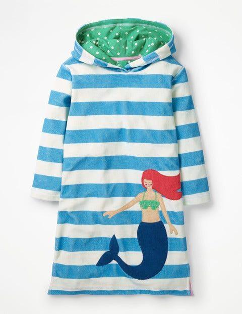 Mini Naturweiß, Meerjungfrau, Gestreift Fröhliches Frottee-Strandkleid Mädchen Boden, 98, Blue
