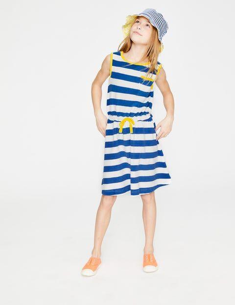 Mini Weiß/Königsblau, Gestreift Frottee-Kleid mit Taillenschnürung Mädchen Boden, 104, Blue