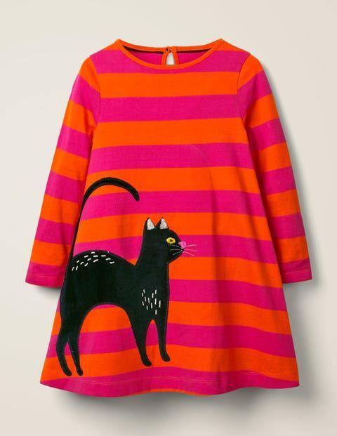 Mini Orange/Knallpink, Gestreift Kleid mit Katzenapplikation Mädchen Boden, 128, Pink