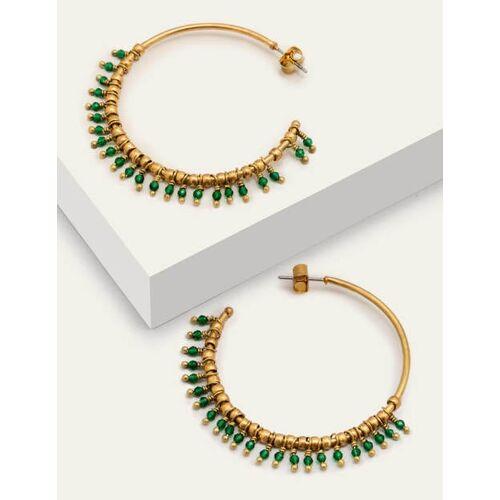 Boden Grün Creolen mit kleinen Perlen Damen Boden, Eine Größe, Green