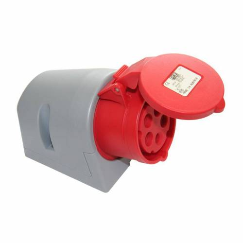 PCE - Wandsteckdose CEE 16A 5pin Turbo Twist, rot