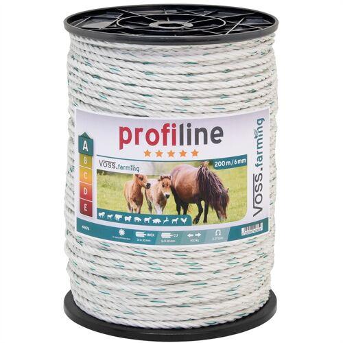 VOSS.farming Weidezaun Seil 200m 6mm, 3x0,30 Kupfer + 3x0,3 Niro, weiß-grün 4****
