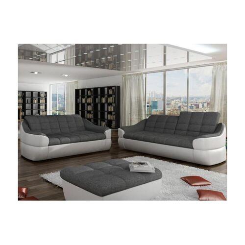 Unique Couchgarnitur Stoff 3+2 Farez - Weiß&Grau