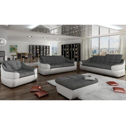 Unique Couchgarnitur Stoff 3+2+1 Farez - Weiß&Grau