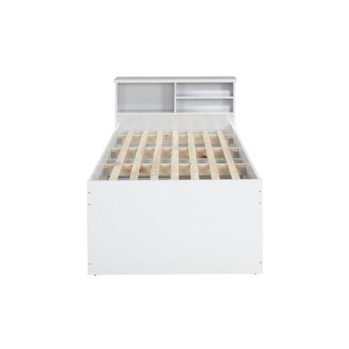 Unique Bett mit Bettkasten BORIS + Lattenrost - 90x190cm - Weiß