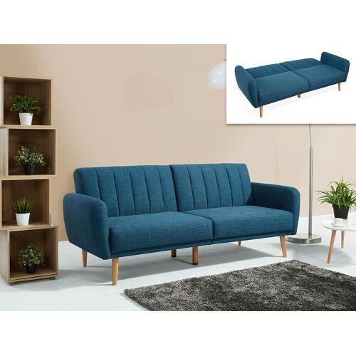 Unique Schlafsofa 3-Sitzer VENLO - Stoff - Blau