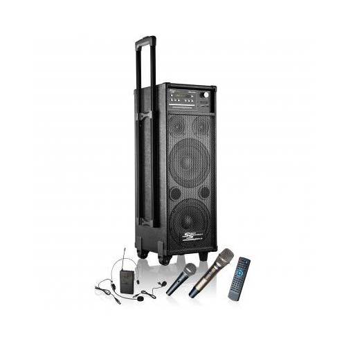 Akkubetriebener Lautsprecher MSS-400i mit Akku / Funkmikrofon / Funkheadset / CD / MP3 / DVD / USB / Radio