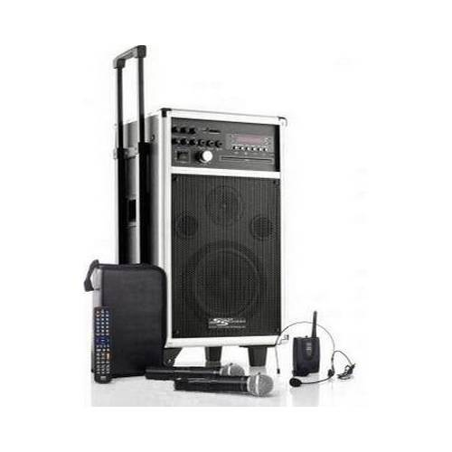 Transportables Soundsystem MSS-500 mit Akku / Funkmikrofon / Funkheadset / CD / MP3 / DVD / USB