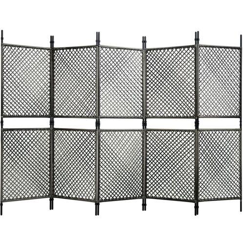 Vidaxl - 5-tlg. Raumteiler Poly Rattan Anthrazit 300 x 200 cm