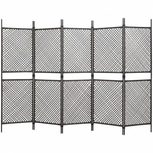 Vidaxl - 5-tlg. Raumteiler Poly Rattan Braun 300 x 200 cm