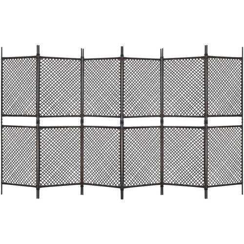 Vidaxl - 6-tlg. Raumteiler Poly Rattan Braun 360 x 200 cm