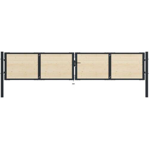 VIDAXL Zauntor Stahl und Fichtenholz 408×125 cm