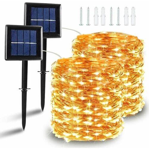 THSINDE [2 Stück] Solar Lichterkette Außen, 10M 100 LED Lichterketten Aussen,