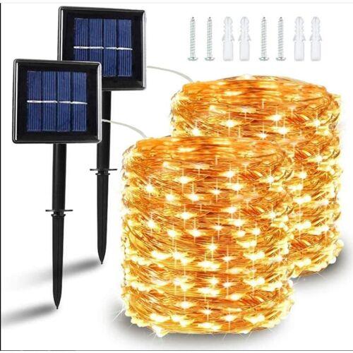 THSINDE [2 Stück] Solar Lichterkette Außen, 10M 120 LED Lichterketten Aussen,