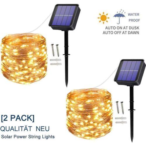 THSINDE [2 Stück] Solar Lichterkette Außen, 12M 100 LED Lichterketten Aussen,