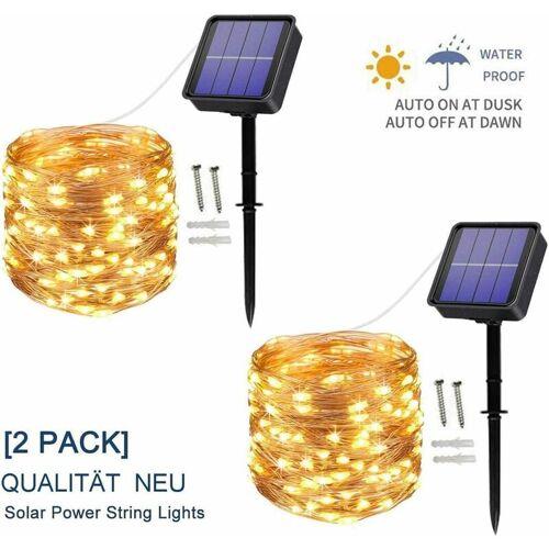 THSINDE [2 Stück] Solar Lichterkette Außen, 12M 120 LED Lichterketten Aussen,