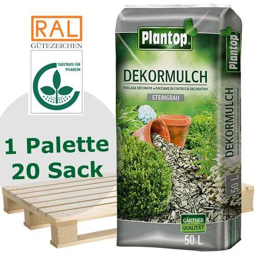 PLANTOP 20 Sack Plantop Farbiger Dekormulch steingrau 10-40mm, Gartenmulch, 50