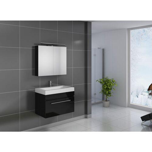 SAM 2tlg. Badezimmer Set Spiegelschrank schwarz 80 cm Lunik