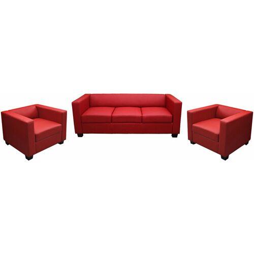 HHG 3-1-1 Couchgarnitur Lille ~ Leder, rot
