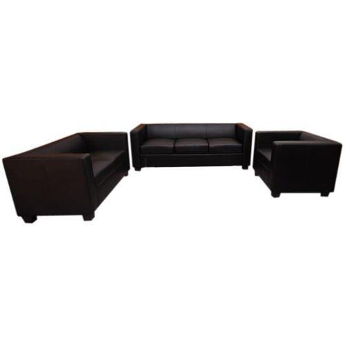 HHG 3-2-1 Couchgarnitur Lille ~ Leder, schwarz