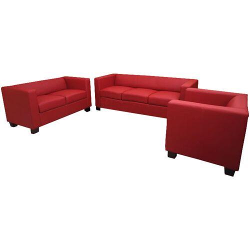 HHG 3-2-1 Couchgarnitur Lille ~ Leder, rot