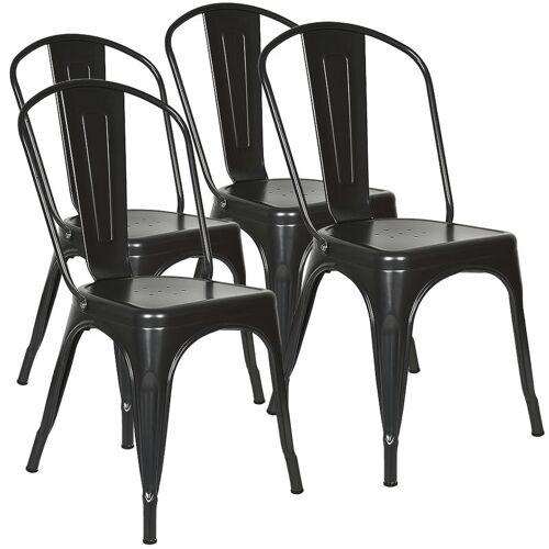 WYCTIN 4er Set Barhocker Esszimmerstuhl mit Eisen-Sitzfläche,Bistrostuhl