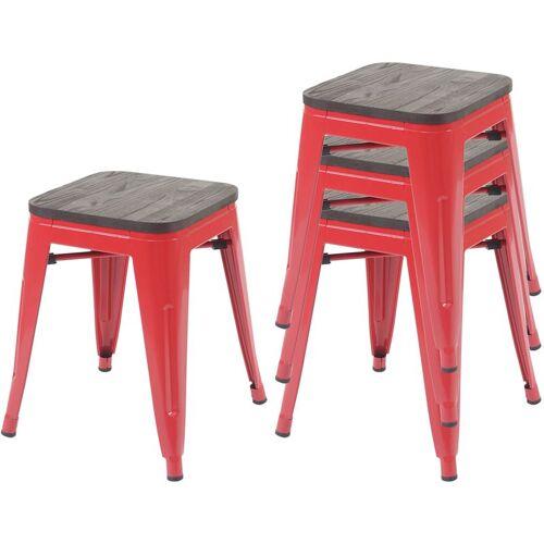 HHG 4x Hocker 771 inkl. Holz-Sitzfläche, Metallhocker Sitzhocker, Metall