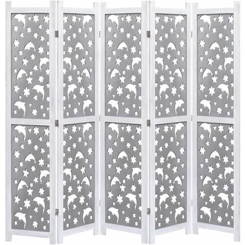 ZQYRLAR 5-teiliger Raumteiler Grau 175 x 165 cm Massivholz