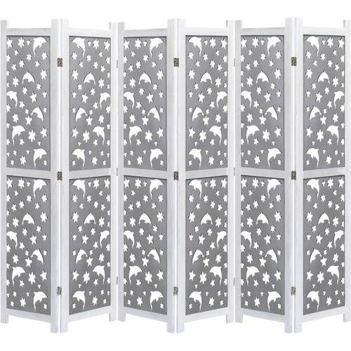 ZQYRLAR 6-teiliger Raumteiler Grau 210 x 165 cm Massivholz