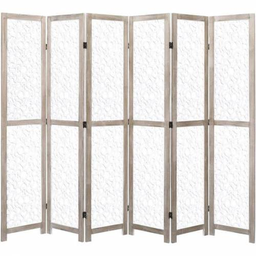 ZQYRLAR 6-teiliger Raumteiler Weiß 210 x 165 cm Massivholz