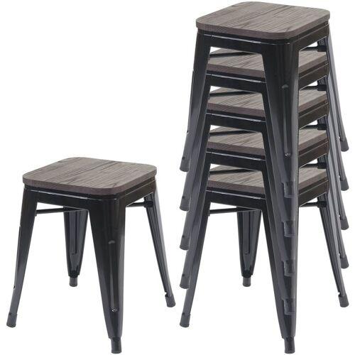 HHG 6x Hocker 771 inkl. Holz-Sitzfläche, Metallhocker Sitzhocker, Metall
