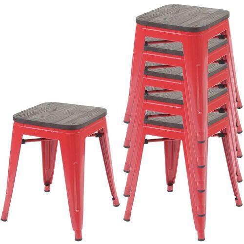HHG 6x Hocker HHG-771 inkl. Holz-Sitzfläche, Metallhocker Sitzhocker,