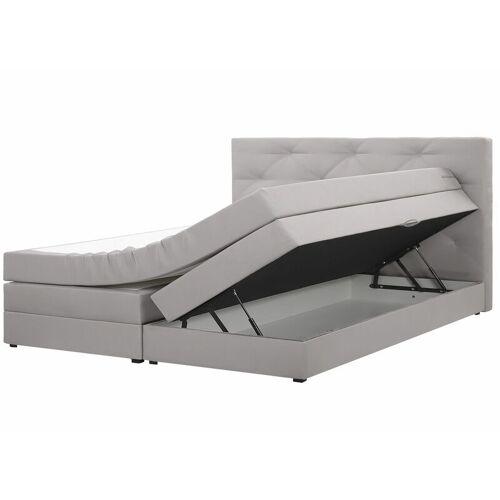 Beliani - Boxspringbett Grau 160 x 200 cm Polsterbezug mit Bettkasten