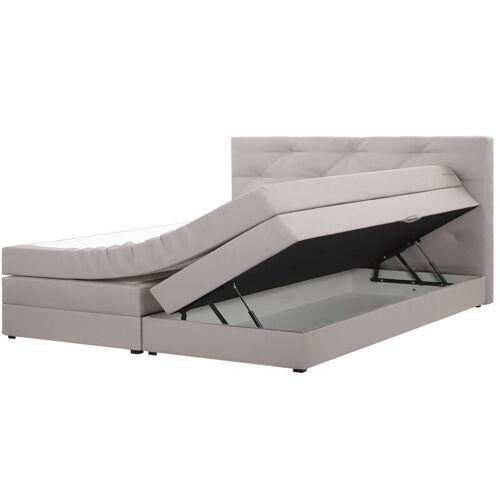 Beliani - Boxspringbett Grau 180 x 200 cm Polsterbezug mit Bettkasten