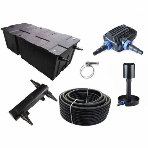 Aquaristikwelt24 - Kammerfilter Set CBF 550 B mit 50W Eco Pumpe 10m