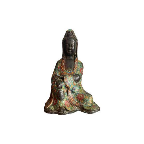 Asienlifestyle - Cloisonné Guanyin (27cm) Buddha Figur Bronze