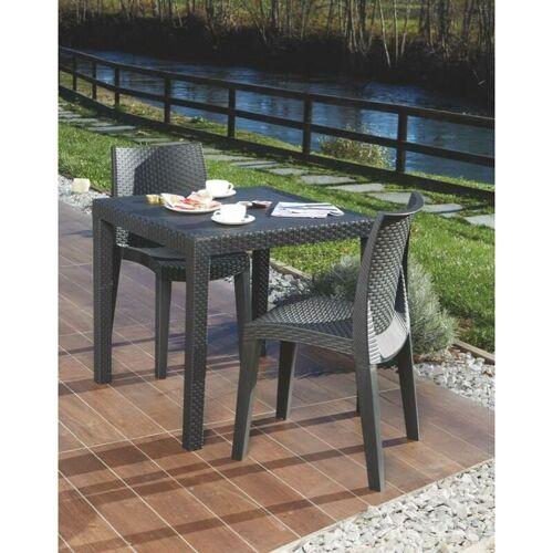 Dmora Quadratischer Tisch für die Außenseite, Struktur aus hartem Harz
