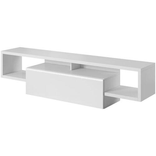 E-COM TV-Lowboard Fernsehschrank Raven - 140 cm- Weiss - E-com